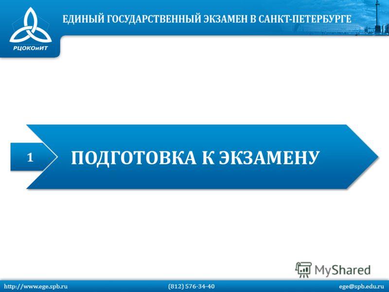 1 1 ПОДГОТОВКА К ЭКЗАМЕНУ http://www.ege.spb.ru (812) 576-34-40 ege@spb.edu.ru