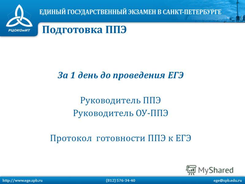 За 1 день до проведения ЕГЭ Руководитель ППЭ Руководитель ОУ-ППЭ Протокол готовности ППЭ к ЕГЭ http://www.ege.spb.ru (812) 576-34-40 ege@spb.edu.ru Подготовка ППЭ