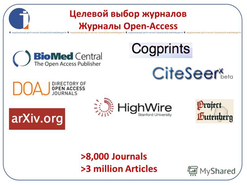 Целевой выбор журналов Журналы Open-Access >8,000 Journals >3 million Articles