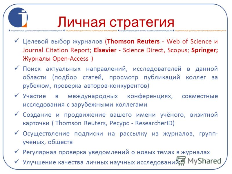 Личная стратегия Целевой выбор журналов (Thomson Reuters - Web of Science и Journal Citation Report; Elsevier - Science Direct, Scopus; Springer; Журналы Open-Access ) Поиск актуальных направлений, исследователей в данной области (подбор статей, прос