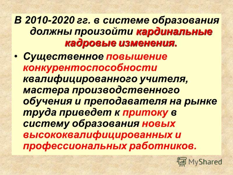 кардинальные кадровые изменения. В 2010-2020 гг. в системе образования должны произойти кардинальные кадровые изменения. Существенное повышение конкурентоспособности квалифицированного учителя, мастера производственного обучения и преподавателя на ры