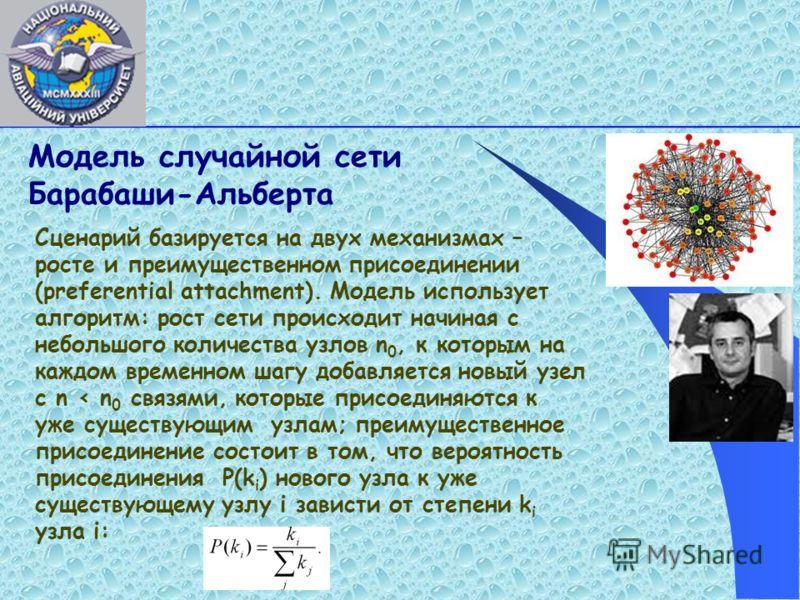 Модель случайной сети Барабаши-Альберта Сценарий базируется на двух механизмах – росте и преимущественном присоединении (preferentіal attachment). Mодель использует алгоритм: рост сети происходит начиная с небольшого количества узлов n 0, к которым н