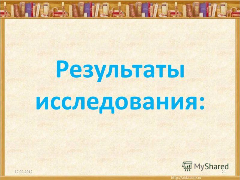 Результаты исследования: 12.09.201221