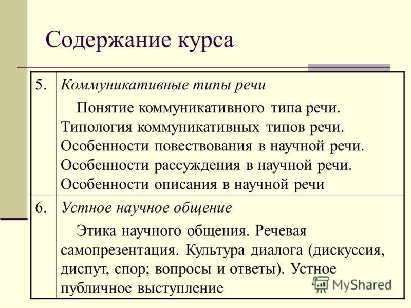 Содержание курса 5.Коммуникативные типы речи Понятие коммуникативного типа речи. Типология коммуникативных типов речи. Особенности повествования в научной речи. Особенности рассуждения в научной речи. Особенности описания в научной речи 6.Устное науч