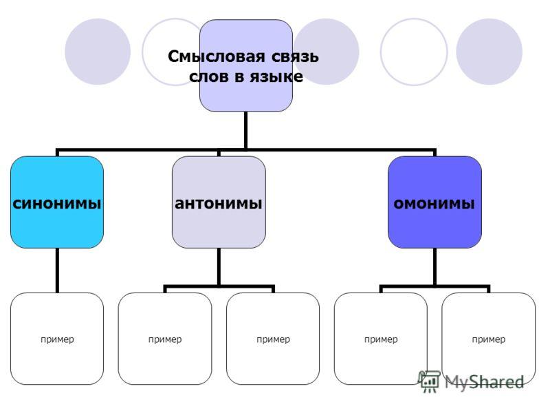 Смысловая связь слов в языке синонимы пример антонимы пример омонимы пример