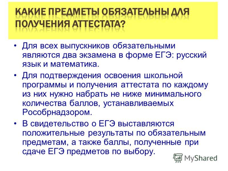 Для всех выпускников обязательными являются два экзамена в форме ЕГЭ: русский язык и математика. Для подтверждения освоения школьной программы и получения аттестата по каждому из них нужно набрать не ниже минимального количества баллов, устанавливаем