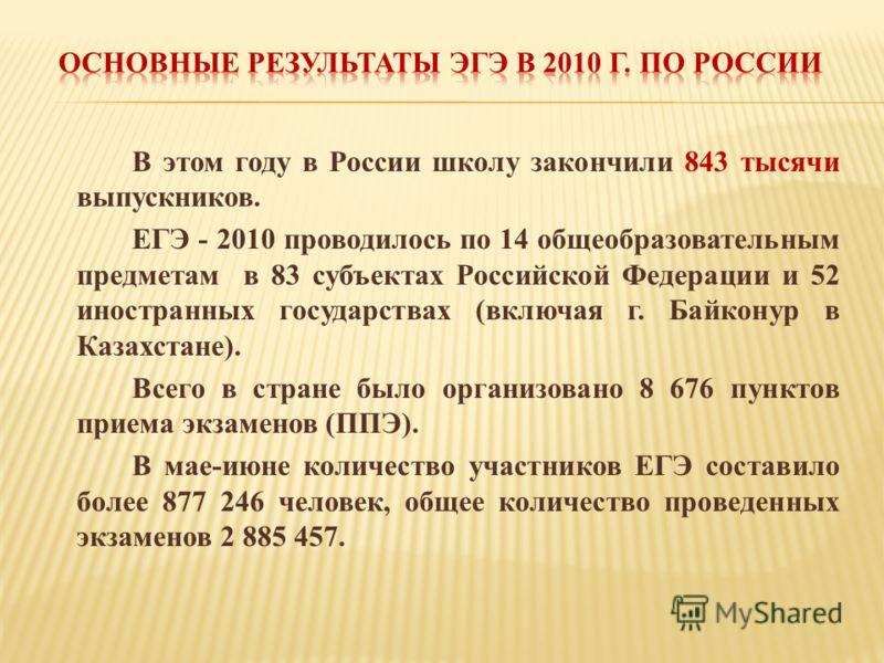 В этом году в России школу закончили 843 тысячи выпускников. ЕГЭ - 2010 проводилось по 14 общеобразовательным предметам в 83 субъектах Российской Федерации и 52 иностранных государствах (включая г. Байконур в Казахстане). Всего в стране было организо