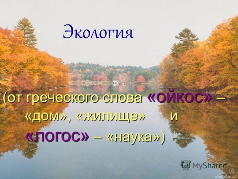 (от греческого слова «ойкос» – «дом», «жилище» и «логос» – «наука») Экология