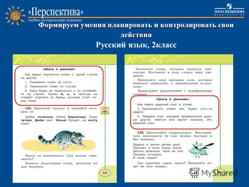 Формируем умения планировать и контролировать свои действия Формируем умения планировать и контролировать свои действия Русский язык, 2класс