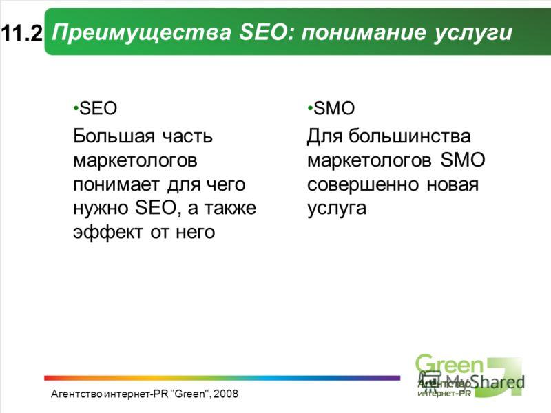 Агентство интернет-PR Green, 2008 Преимущества SEO: понимание услуги SEO Большая часть маркетологов понимает для чего нужно SEO, а также эффект от него SMO Для большинства маркетологов SMO совершенно новая услуга 11.2
