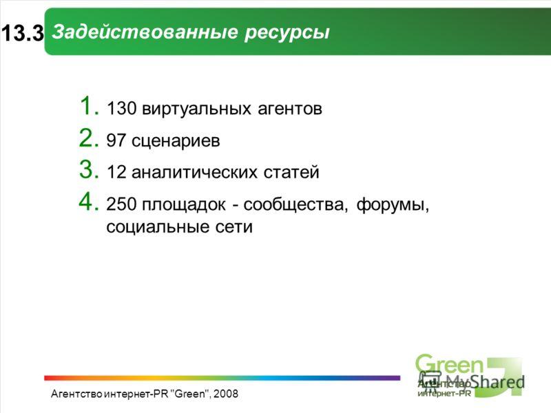 Агентство интернет-PR Green, 2008 Задействованные ресурсы 1. 130 виртуальных агентов 2. 97 сценариев 3. 12 аналитических статей 4. 250 площадок - сообщества, форумы, социальные сети 13.313.3