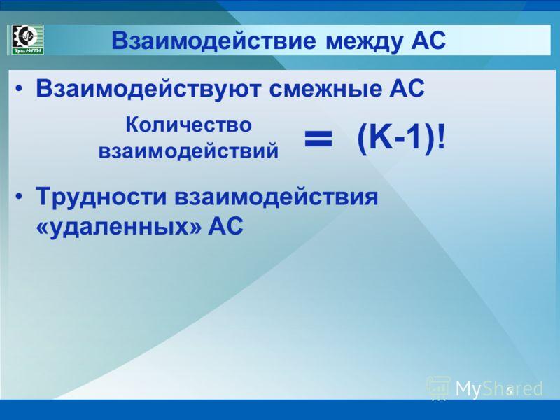 Взаимодействие между АС 5 Взаимодействуют смежные АС Трудности взаимодействия «удаленных» АС Количество взаимодействий (K-1)!