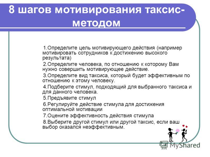 8 шагов мотивирования таксис- методом 1.Определите цель мотивирующего действия (например мотивировать сотрудников к достижению высокого результата) 2.Определите человека, по отношению к которому Вам нужно совершить мотивирующее действие. 3.Определите
