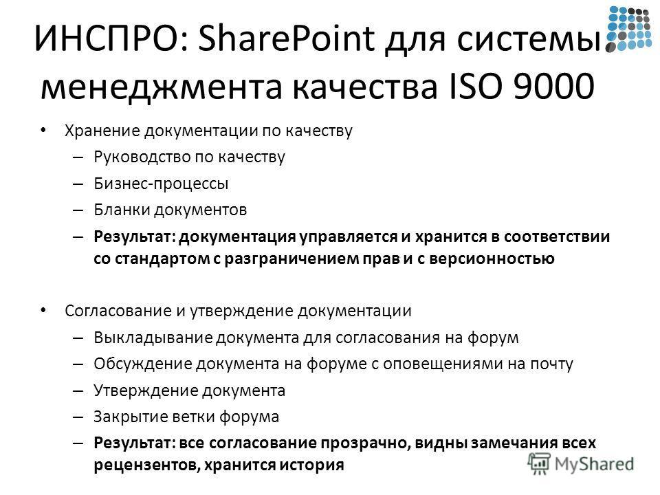 ИНСПРО: SharePoint для системы менеджмента качества ISO 9000 Хранение документации по качеству – Руководство по качеству – Бизнес-процессы – Бланки документов – Результат: документация управляется и хранится в соответствии со стандартом с разграничен