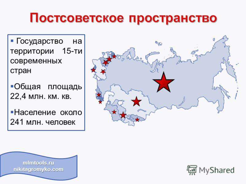 Государство на территории 15-ти современных стран Общая площадь 22,4 млн. км. кв. Население около 241 млн. человек mlmtools.ru nikitagromyko.com