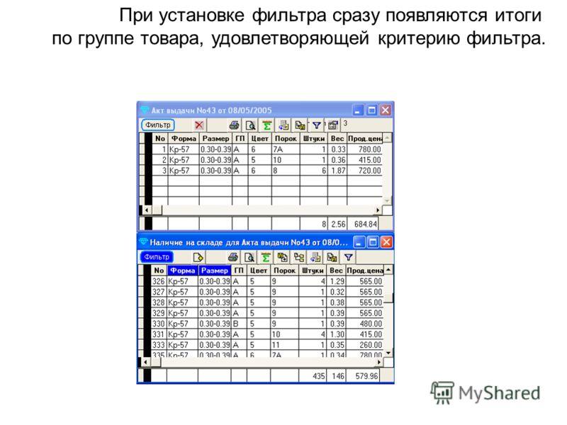 При установке фильтра сразу появляются итоги по группе товара, удовлетворяющей критерию фильтра.