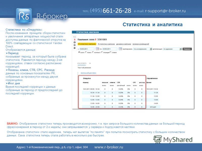 Cервис R-broker ® 41/41 Статистика по «Открутке»: После изменения принципа сбора статистики и увеличения аппаратных мощностей стали доступны данные по фактической открутке на 100% совпадающие со статистикой Yandex Direct. Отображаются данные: Период: