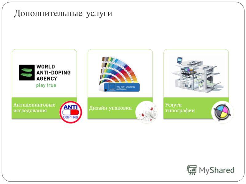 Дополнительные услуги Антидопинговые исследования Дизайн упаковки Услуги типографии
