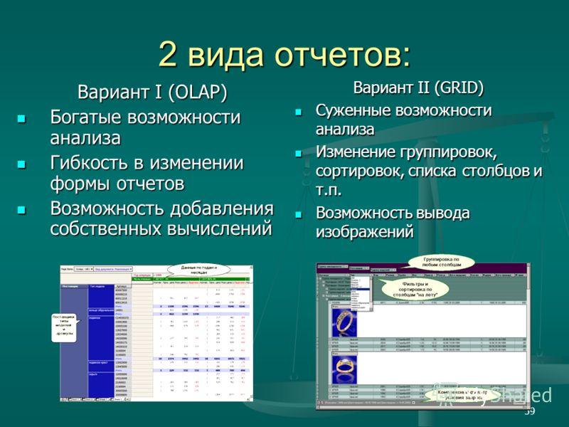 59 2 вида отчетов: Вариант I (OLAP) Богатые возможности анализа Богатые возможности анализа Гибкость в изменении формы отчетов Гибкость в изменении формы отчетов Возможность добавления собственных вычислений Возможность добавления собственных вычисле