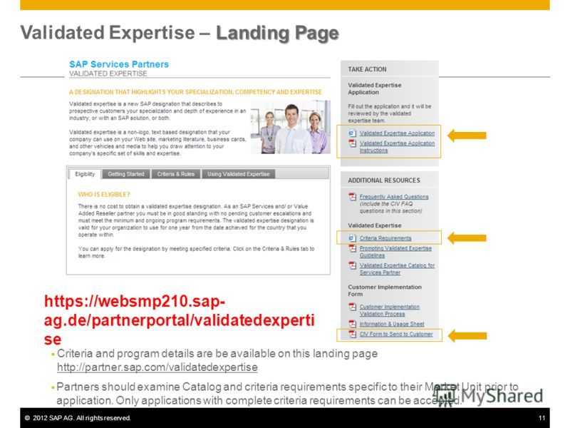 ©2012 SAP AG. All rights reserved.11 Landing Page Validated Expertise – Landing Page Criteria and program details are be available on this landing page http://partner.sap.com/validatedexpertise http://partner.sap.com/validatedexpertise Partners shoul