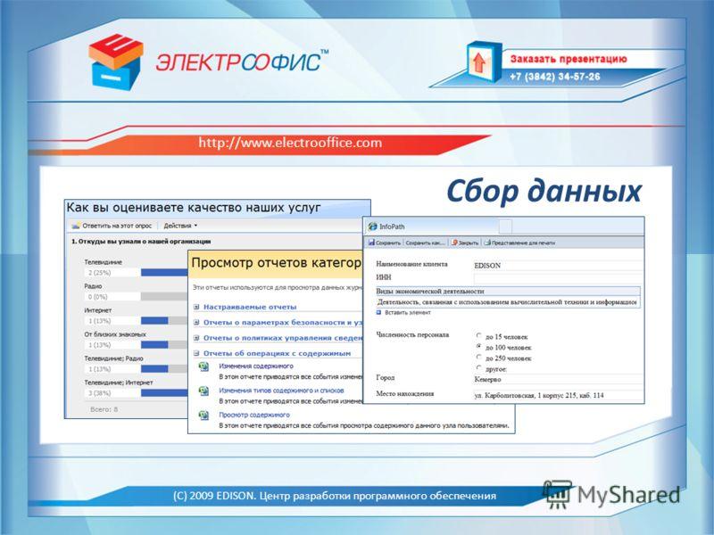 EDISON. Центр разработки программного обеспечения http://www.edsd.ru Образец заголовка (С) 2009 EDISON. Центр разработки программного обеспечения http://www.electrooffice.com Сбор данных