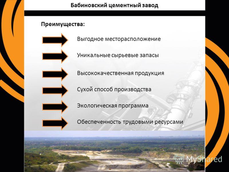 Бабиновский цементный завод Выгодное месторасположение Уникальные сырьевые запасы Высококачественная продукция Сухой способ производства Экологическая программа Обеспеченность трудовыми ресурсами Преимущества: