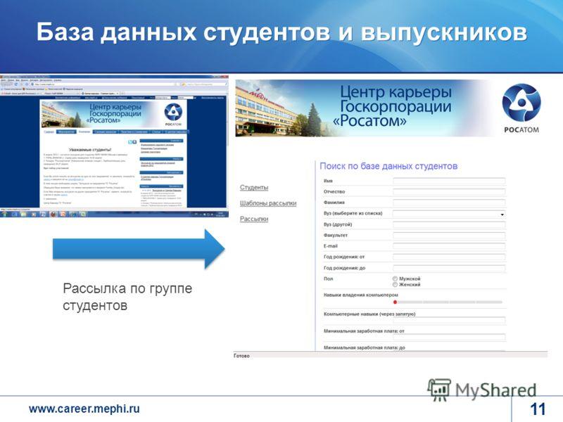 www.career.mephi.ru База данных студентов и выпускников 11 Рассылка по группе студентов