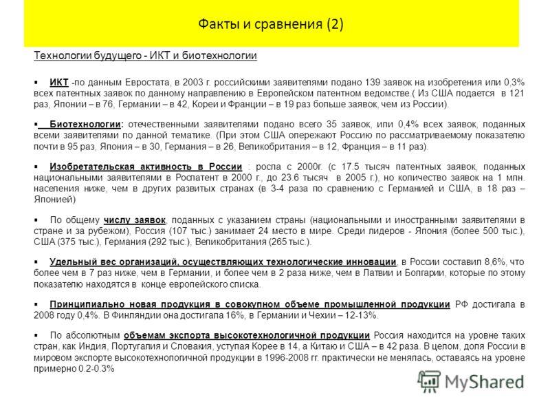 Факты и сравнения (2) Технологии будущего - ИКТ и биотехнологии ИКТ -по данным Евростата, в 2003 г. российскими заявителями подано 139 заявок на изобретения или 0,3% всех патентных заявок по данному направлению в Европейском патентном ведомстве.( Из