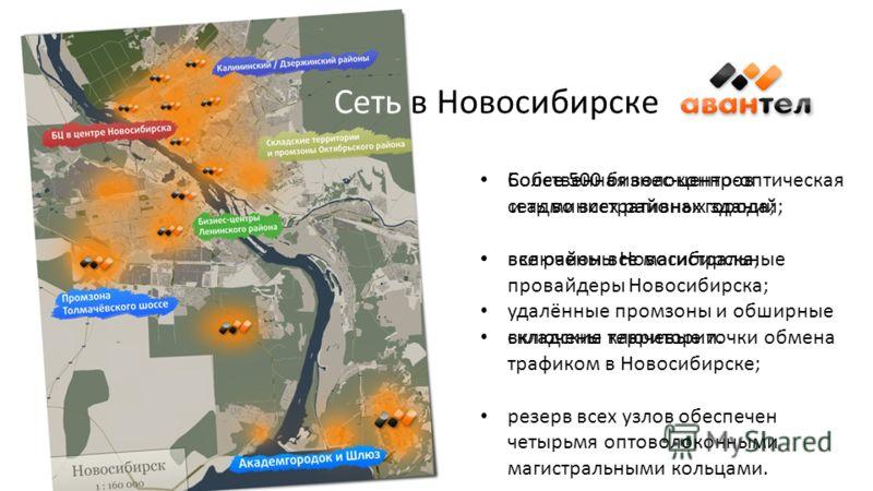Сеть в Новосибирске Cобственная волоконно-оптическая сеть во всех районах города; включены все магистральные провайдеры Новосибирска; включены ключевые точки обмена трафиком в Новосибирске; резерв всех узлов обеспечен четырьмя оптоволоконными магистр