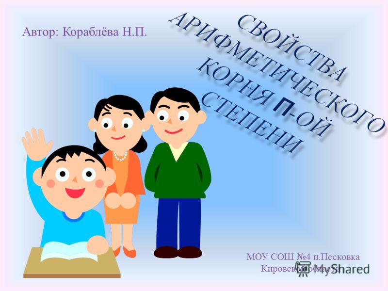 Автор : Кораблёва Н. П. МОУ СОШ 4 п. Песковка Кировской области