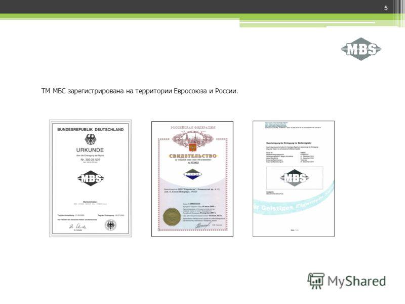 ТМ МБС зарегистрирована на территории Евросоюза и России. 5
