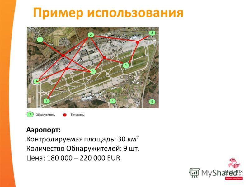 Пример использования Аэропорт: Контролируемая площадь: 30 км 2 Количество Обнаружителей: 9 шт. Цена: 180 000 – 220 000 EUR