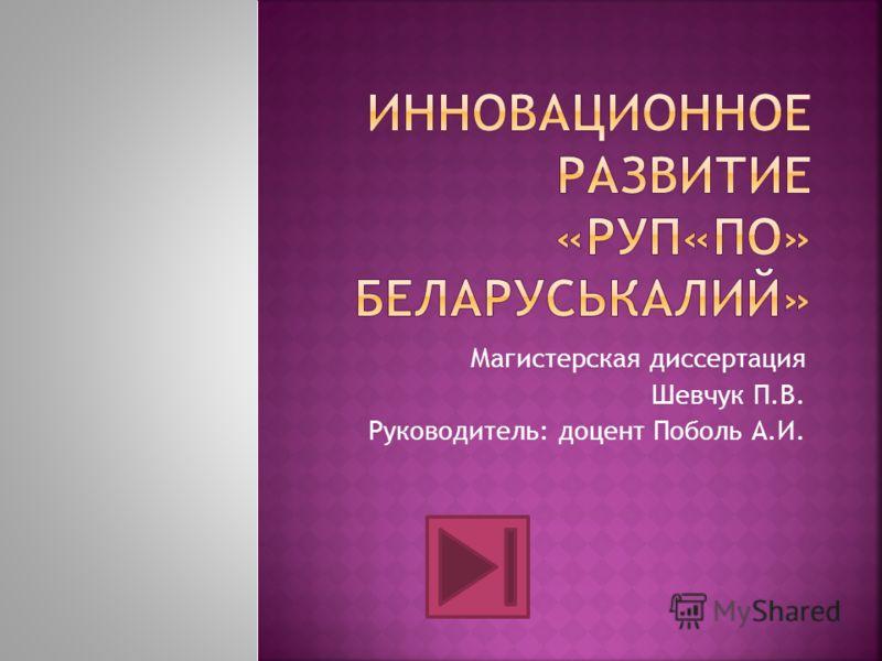 Магистерская диссертация Шевчук П.В. Руководитель: доцент Поболь А.И.