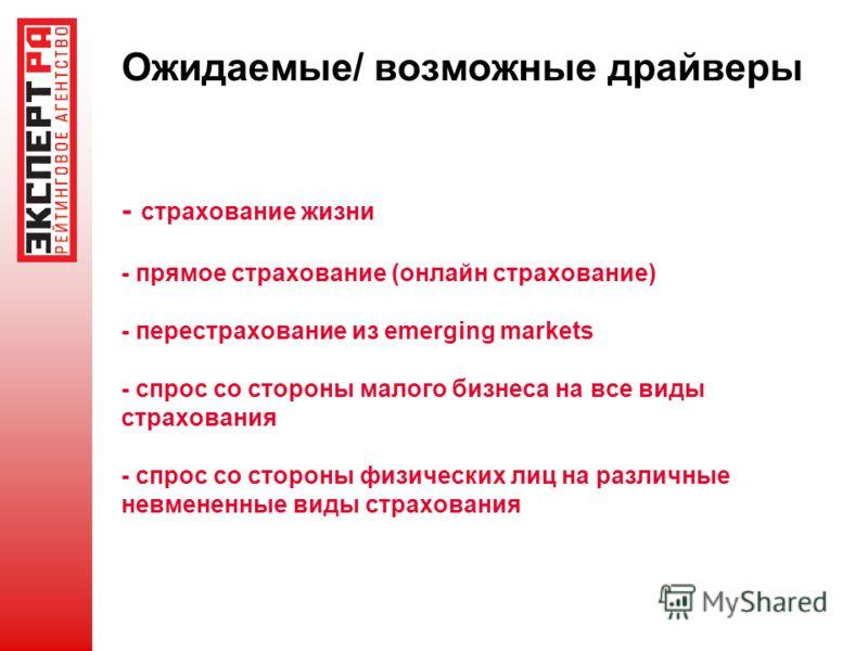 Ожидаемые/ возможные драйверы - страхование жизни - прямое страхование (онлайн страхование) - перестрахование из emerging markets - спрос со стороны малого бизнеса на все виды страхования - спрос со стороны физических лиц на различные невмененные вид