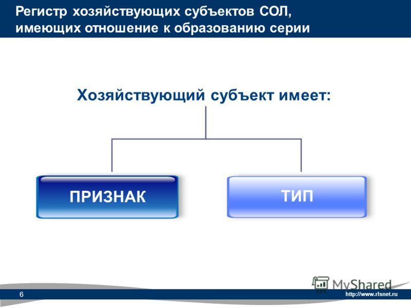 http://www.rlsnet.ru 6 Хозяйствующий субъект имеет: Регистр хозяйствующих субъектов СОЛ, имеющих отношение к образованию серии ПРИЗНАК ТИП