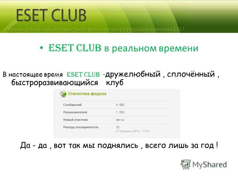 ESET CLUB в реальном времени В настоящее время ESET CLUB - дружелюбный, сплочённый, быстроразвивающийся клуб Да - да, вот так мы поднялись, всего лишь за год !