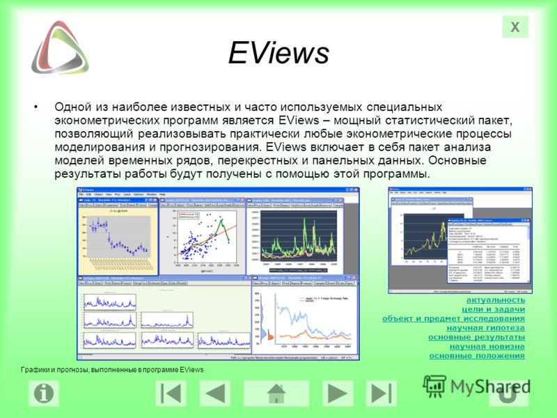 актуальность цели и задачи объект и предмет исследования научная гипотеза основные результаты научная новизна основные положения Х EViews Одной из наиболее известных и часто используемых специальных эконометрических программ является EViews – мощный