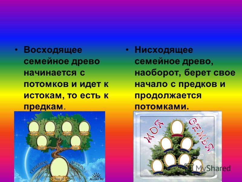 Восходящее семейное древо начинается с потомков и идет к истокам, то есть к предкам. Нисходящее семейное древо, наоборот, берет свое начало с предков и продолжается потомками.