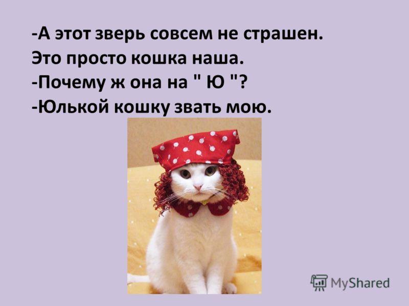 -А этот зверь совсем не страшен. Это просто кошка наша. -Почему ж она на  Ю ? -Юлькой кошку звать мою.