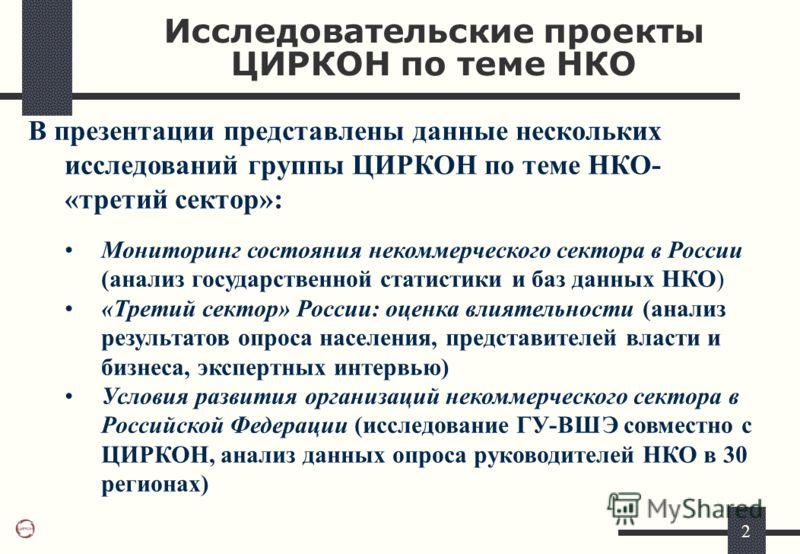 2 Исследовательские проекты ЦИРКОН по теме НКО В презентации представлены данные нескольких исследований группы ЦИРКОН по теме НКО- «третий сектор»: Мониторинг состояния некоммерческого сектора в России (анализ государственной статистики и баз данных