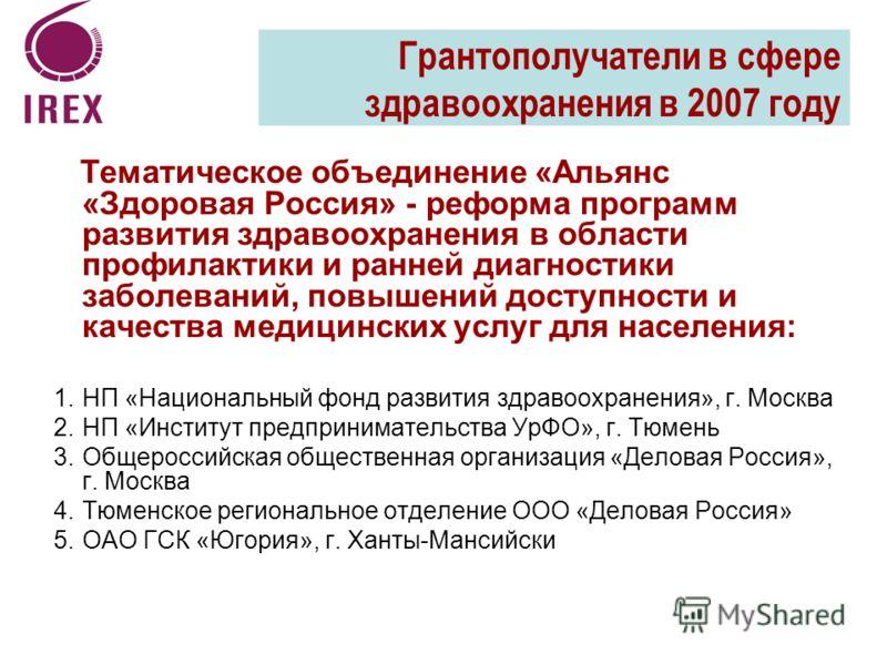 Тематическое объединение «Альянс «Здоровая Россия» - реформа программ развития здравоохранения в области профилактики и ранней диагностики заболеваний, повышений доступности и качества медицинских услуг для населения: 1.НП «Национальный фонд развития