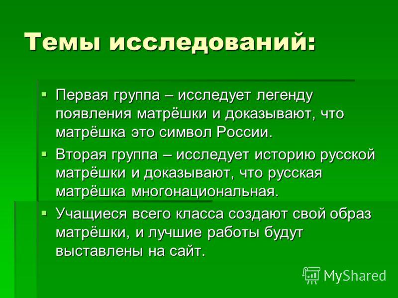 Темы исследований: Первая группа – исследует легенду появления матрёшки и доказывают, что матрёшка это символ России. Первая группа – исследует легенду появления матрёшки и доказывают, что матрёшка это символ России. Вторая группа – исследует историю