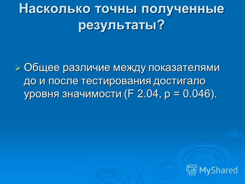 Насколько точны полученные результаты? Общее различие между показателями до и после тестирования достигало уровня значимости (F 2.04, p = 0.046). Общее различие между показателями до и после тестирования достигало уровня значимости (F 2.04, p = 0.046