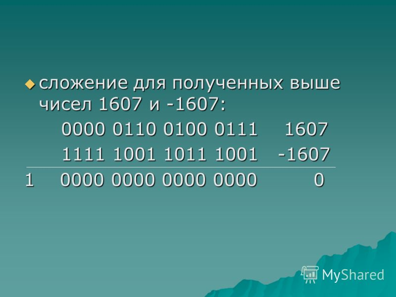 сложение для полученных выше чисел 1607 и -1607: сложение для полученных выше чисел 1607 и -1607: 0000 0110 0100 0111 1607 0000 0110 0100 0111 1607 1111 1001 1011 1001 -1607 1111 1001 1011 1001 -1607 1 0000 0000 0000 0000 0