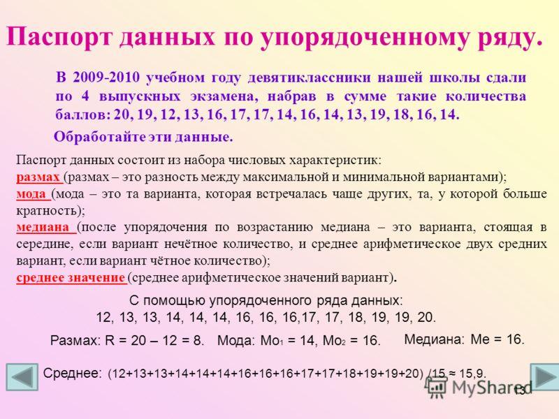 Паспорт данных по упорядоченному ряду. В 2009-2010 учебном году девятиклассники нашей школы сдали по 4 выпускных экзамена, набрав в сумме такие количества баллов: 20, 19, 12, 13, 16, 17, 17, 14, 16, 14, 13, 19, 18, 16, 14. Обработайте эти данные. Пас