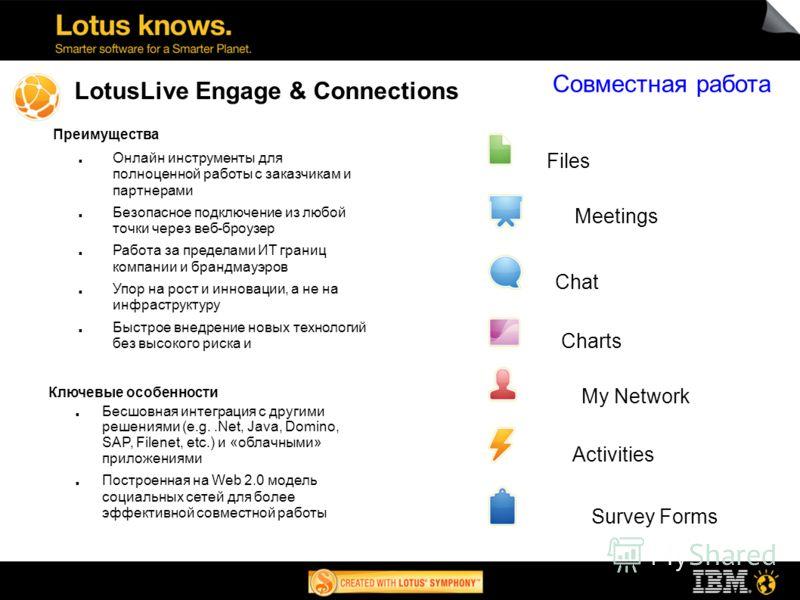 LotusLive Engage & Connections Преимущества Онлайн инструменты для полноценной работы с заказчикам и партнерами Безопасное подключение из любой точки через веб-броузер Работа за пределами ИТ границ компании и брандмауэров Упор на рост и инновации, а