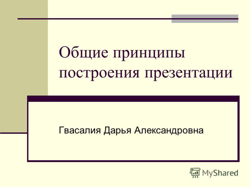 1 Общие принципы построения презентации Гвасалия Дарья Александровна