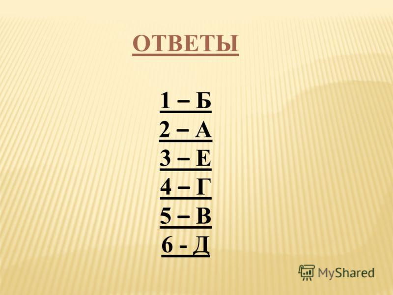 ОТВЕТЫ 1 – Б 2 – А 3 – Е 4 – Г 5 – В 6 - Д