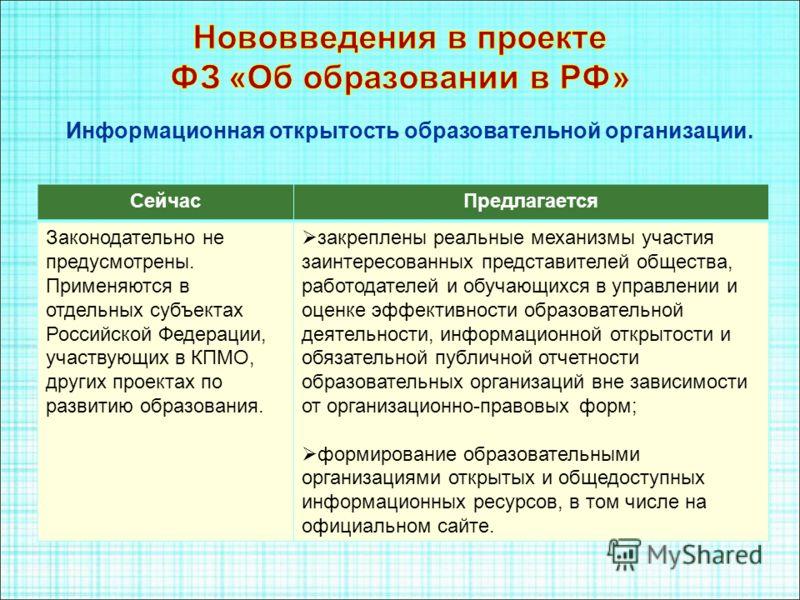 СейчасПредлагается Законодательно не предусмотрены. Применяются в отдельных субъектах Российской Федерации, участвующих в КПМО, других проектах по развитию образования. закреплены реальные механизмы участия заинтересованных представителей общества, р