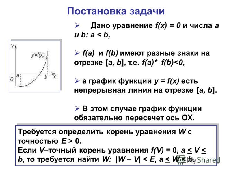 Постановка задачи Дано уравнение f(x) = 0 и числа a и b: a < b, f(a) и f(b) имеют разные знаки на отрезке [a, b], т.е. f(a)* f(b) 0. Если V–точный корень уравнения f(V) = 0, a < V < b, то требуется найти W: |W – V| < E, a < W < b. Требуется определит